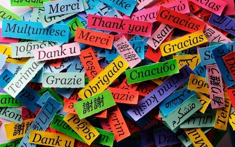 Thanks of different language colorful paper pieces 2880x1800