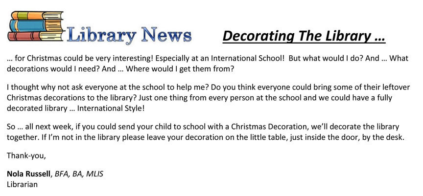 Decorating the library for Christmas