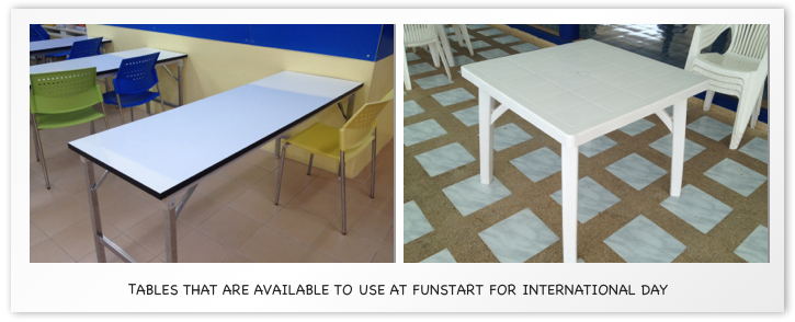 Tables that are available to use for International Day