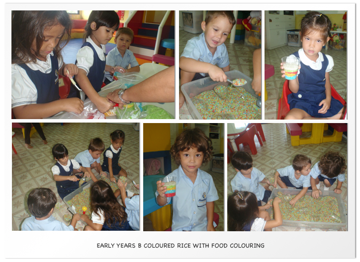 Early Years B coloured rice with food colouring