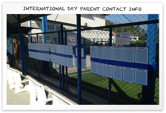 International Day parent contact info