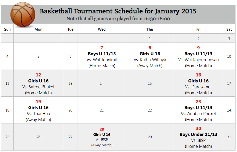 Basketball Tournament Schedule for January 2015