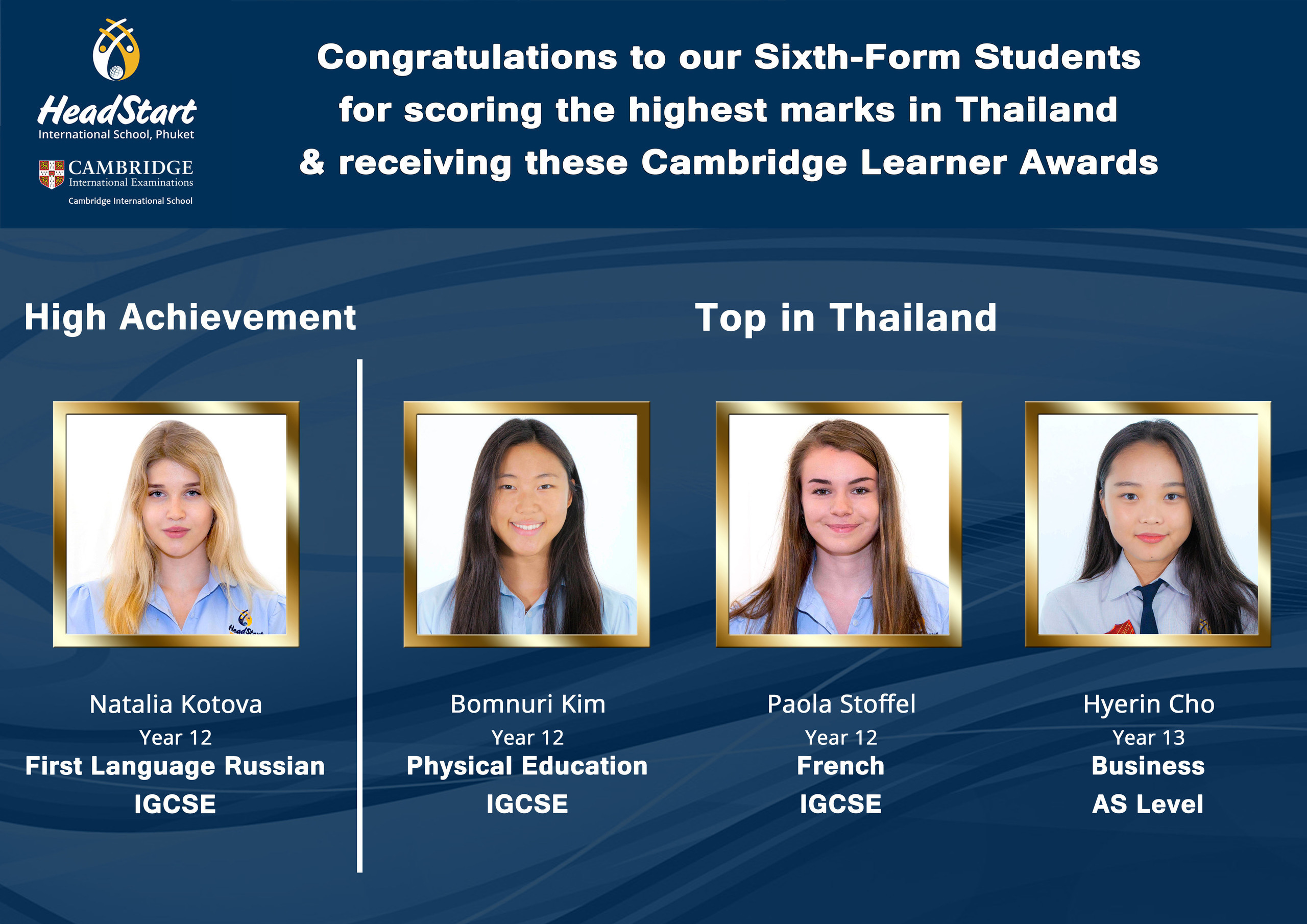 Congratulations to our sixth form students A3