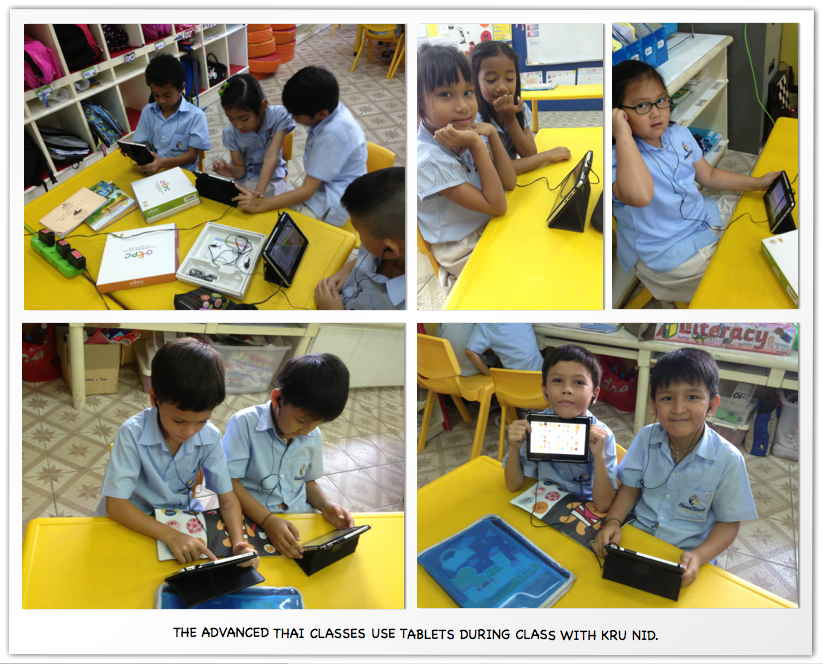 The advanced Thai classes use tablets during class with kru nid